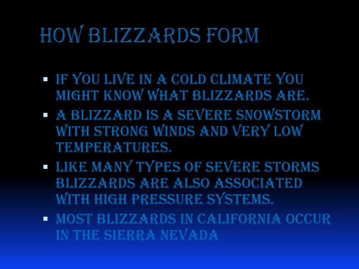 How blizzards form