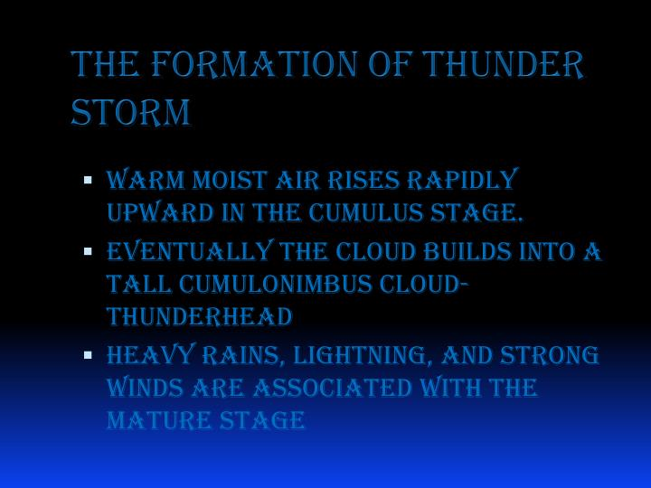 The formation of thunder storm