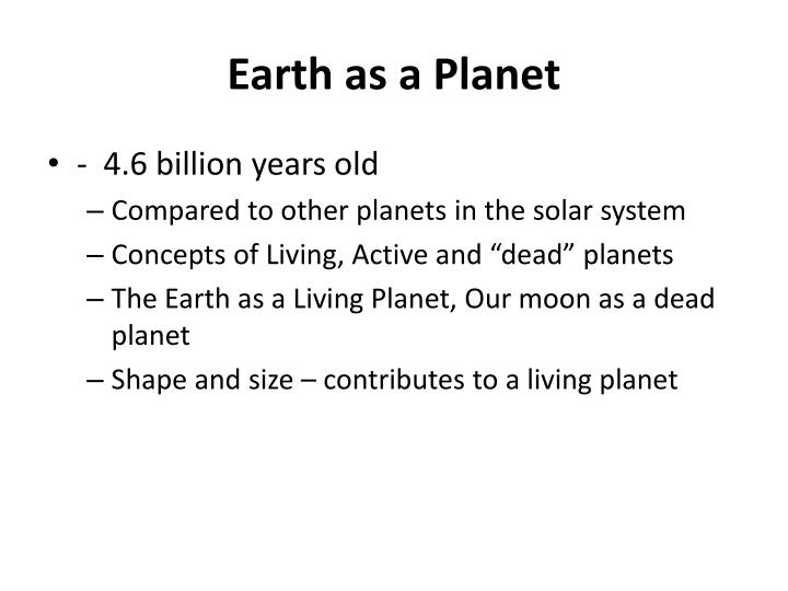 Earth as a Planet
