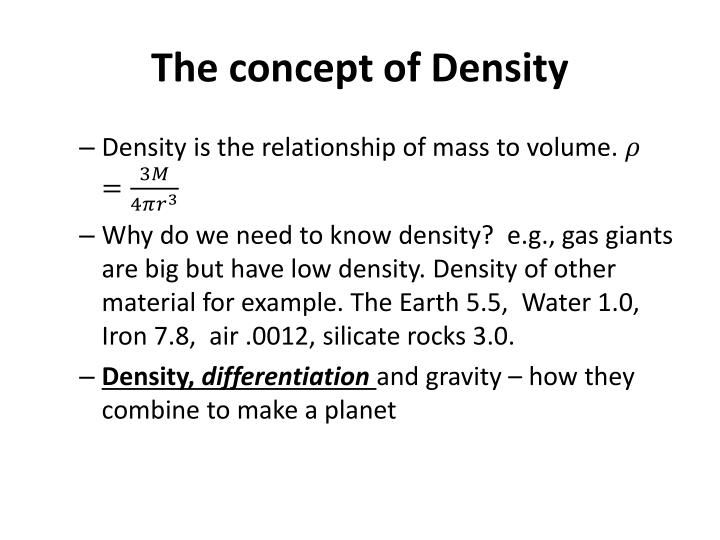 The concept of Density