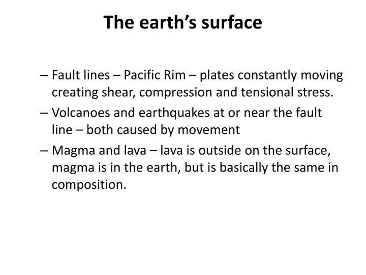 The earth's surface