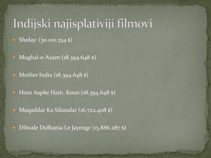 Indijski najisplativiji filmovi