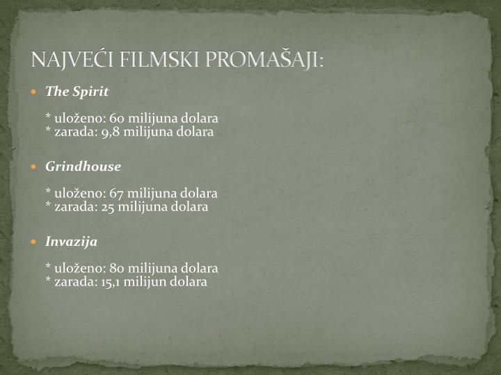 NAJVEĆI FILMSKI PROMAŠAJI: