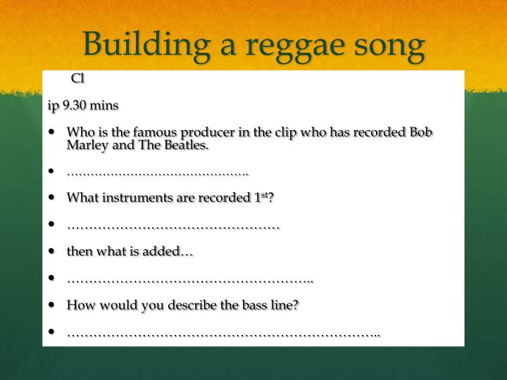 Building a reggae song