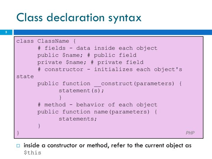 Class declaration syntax