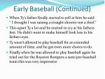early baseball continued