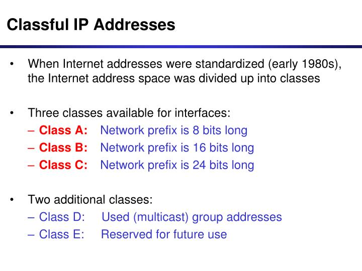 Classful IP Addresses