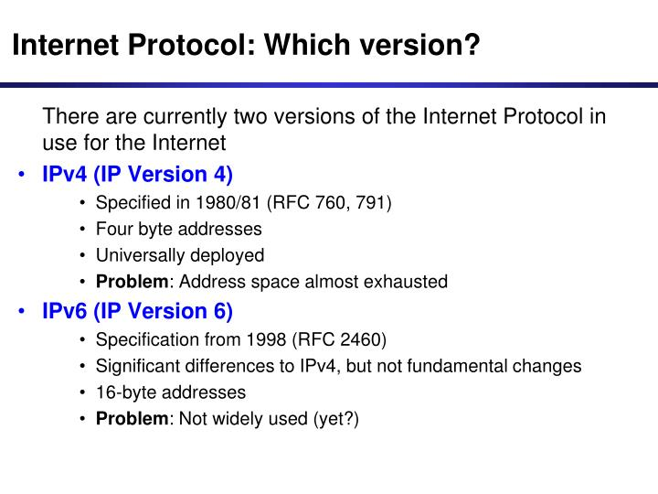 Internet Protocol: Which version?