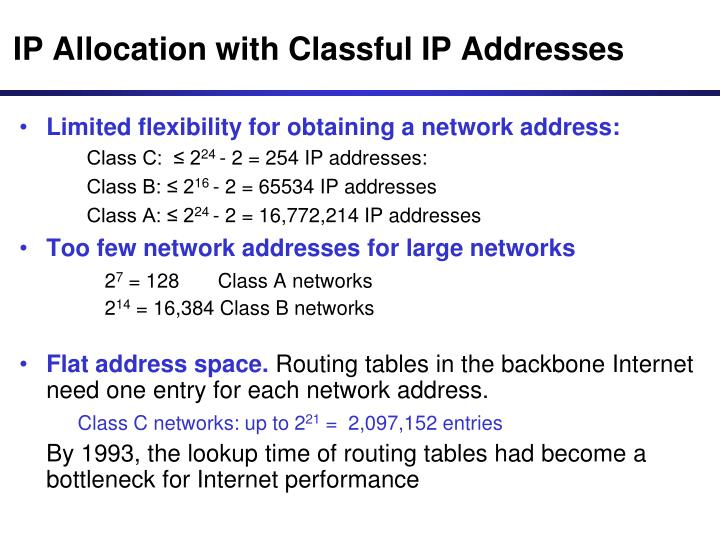 IP Allocation with Classful IP Addresses