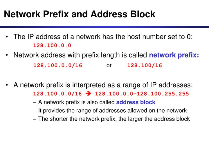 Network Prefix and Address Block