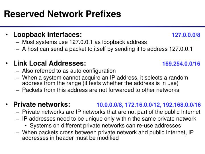 Reserved Network Prefixes