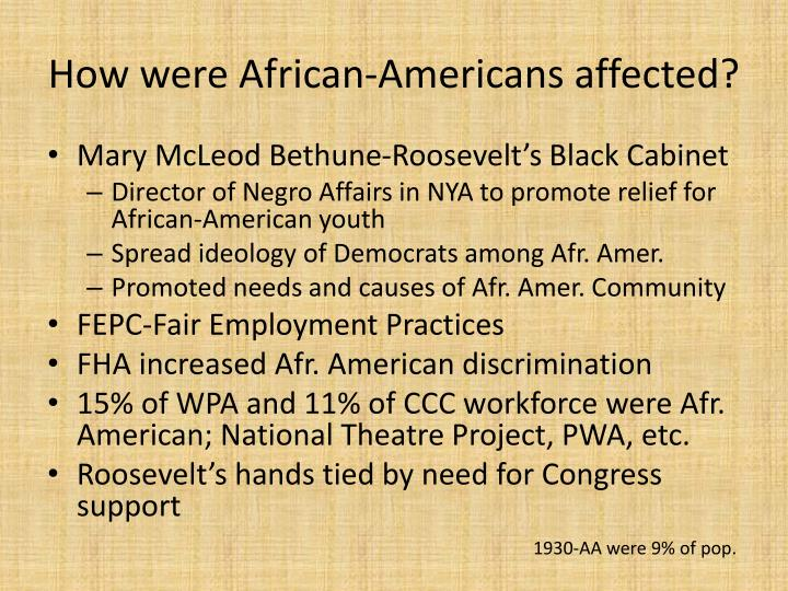 How were African-Americans affected?