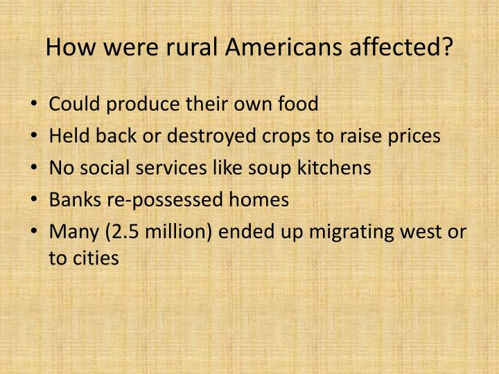 How were rural americans affected