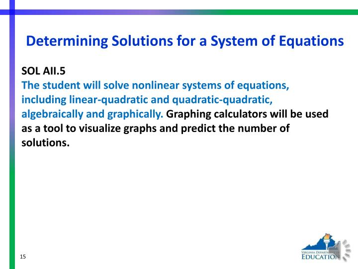 Determining Solutions for a System of Equations