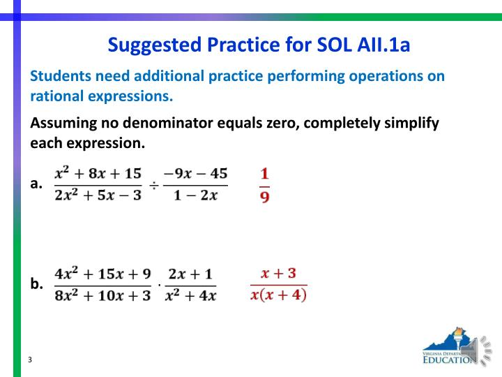Suggested practice for sol aii 1a