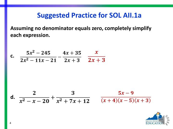 Suggested Practice for SOL AII.1a