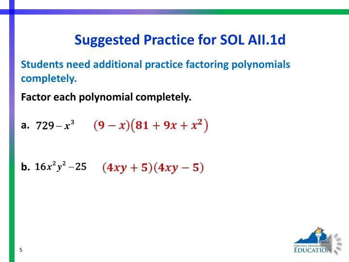 Suggested Practice for SOL AII.1d