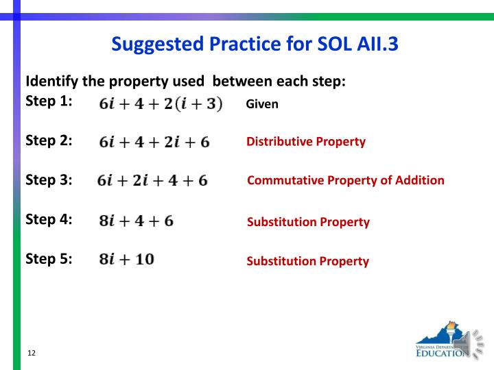 Suggested Practice for SOL AII.3