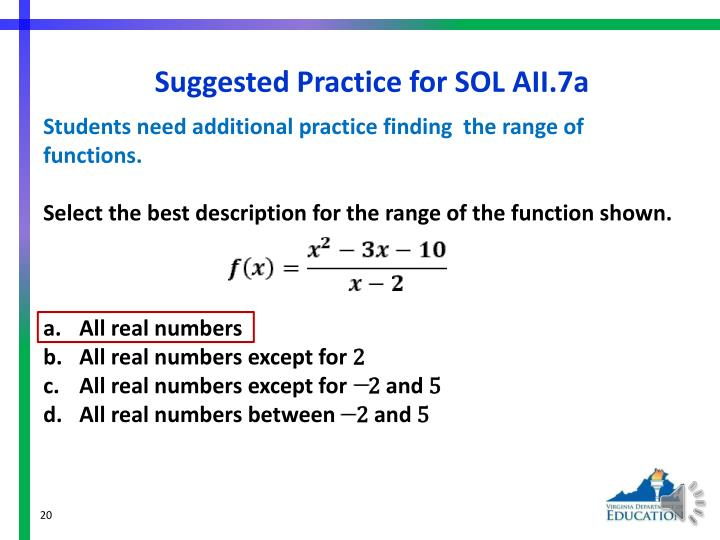 Suggested Practice for SOL AII.7a