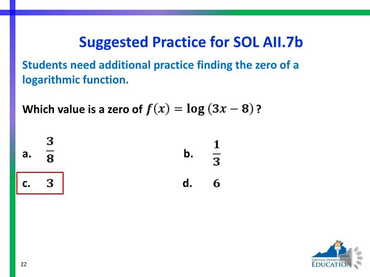 Suggested Practice for SOL AII.7b