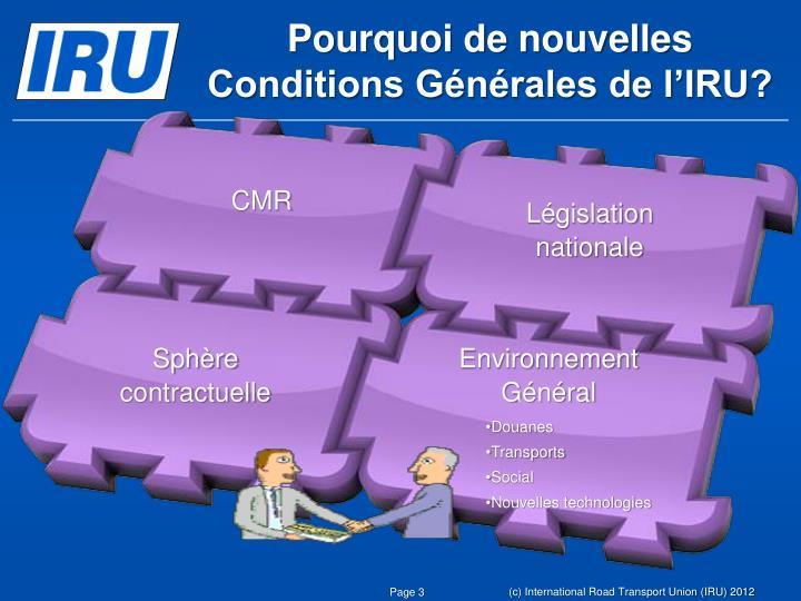 Pourquoi de nouvelles Conditions Générales de l'IRU?