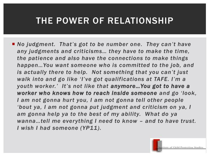 The power of relationship