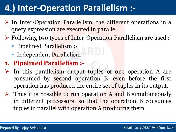 4.) Inter-Operation Parallelism :-