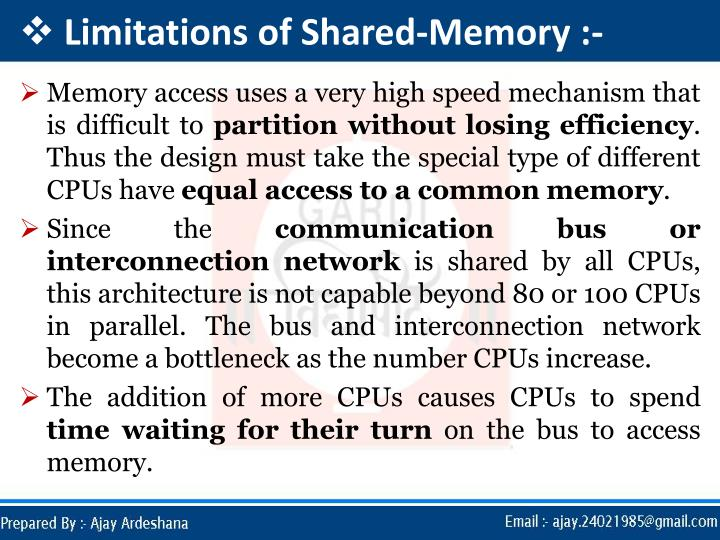 Limitations of Shared-Memory :-