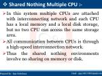 shared nothing multiple cpu