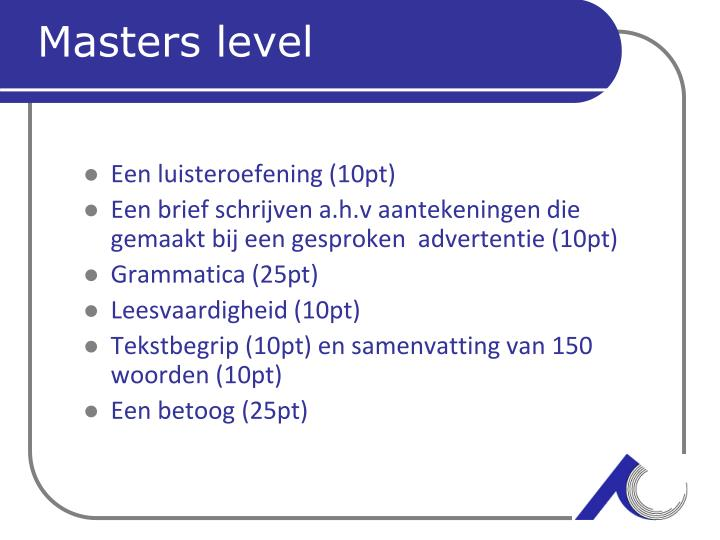 Masters level