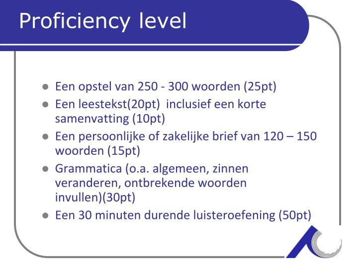 Proficiency level