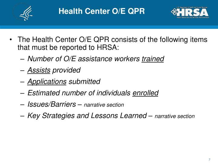 Health Center O/E QPR