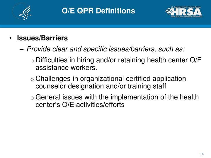 O/E QPR Definitions