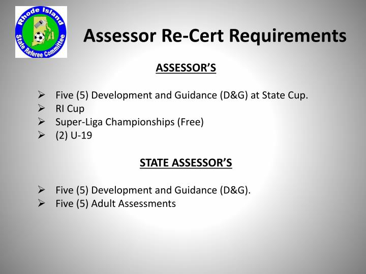 Assessor Re-Cert Requirements