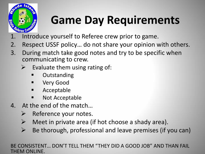 Game Day Requirements