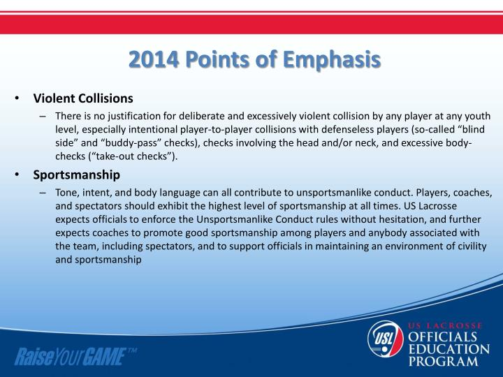 2014 Points of Emphasis