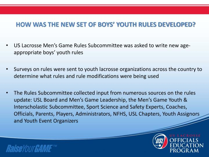 HOW WAS THE NEW SET OF BOYS' YOUTH RULES DEVELOPED?