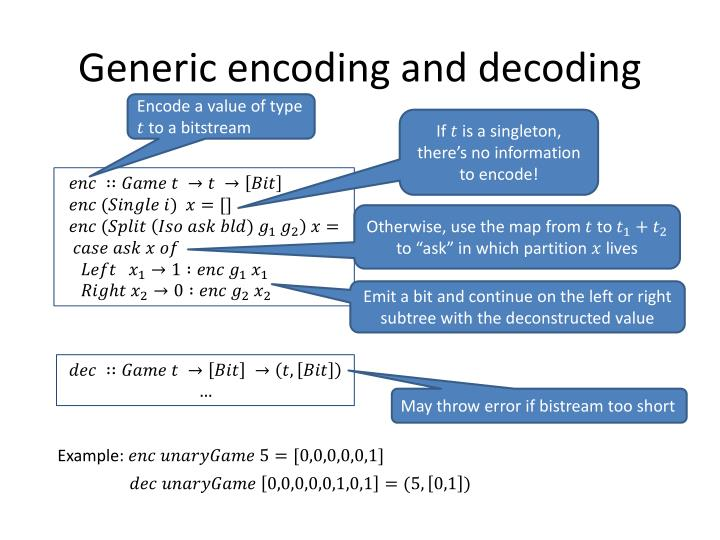Generic encoding and decoding