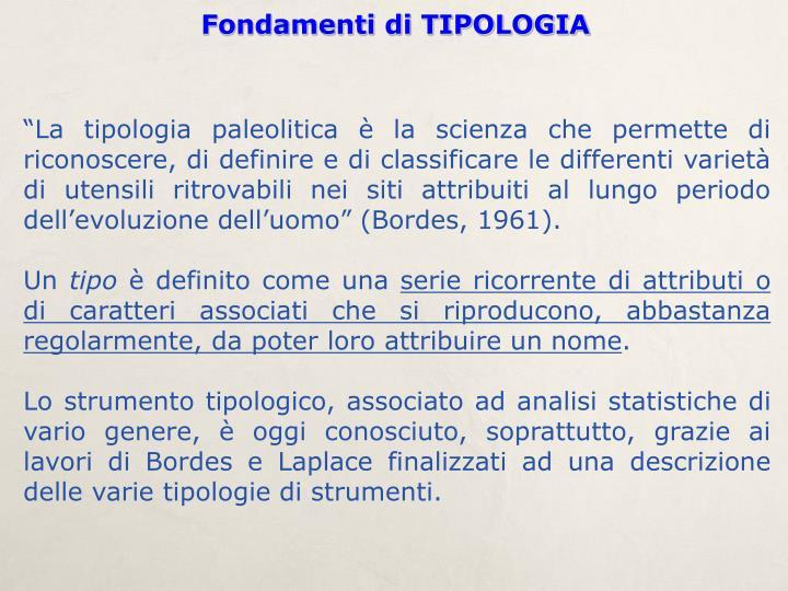 Fondamenti di TIPOLOGIA