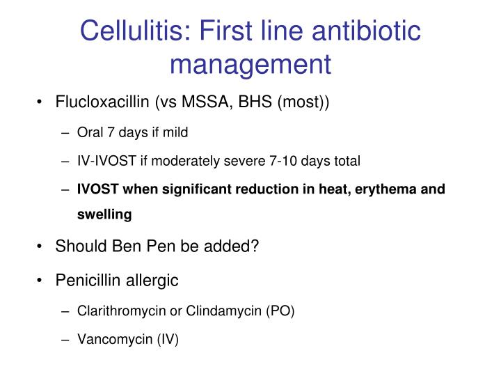 Cellulitis: First line antibiotic management