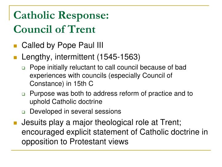 Catholic response council of trent
