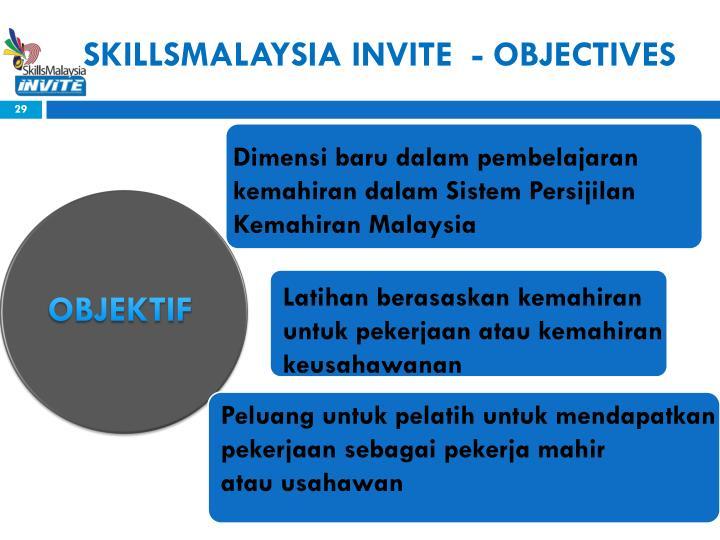 SKILLSMALAYSIA INVITE  - OBJECTIVES