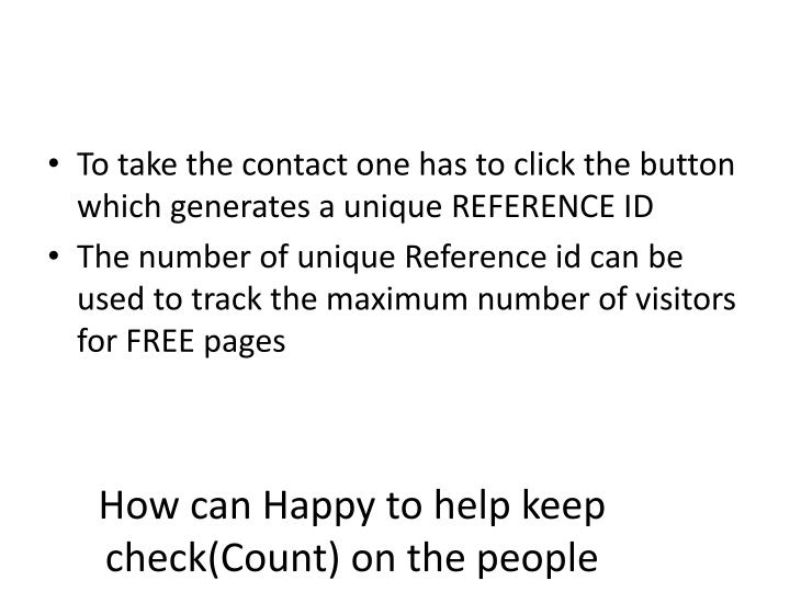 How can Happy to help keep check(Count) on the people taking contact on portal