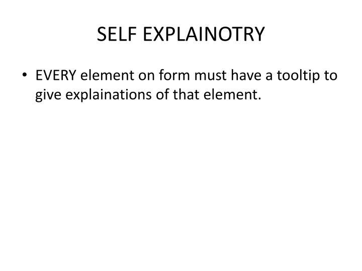 SELF EXPLAINOTRY
