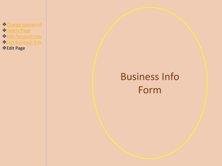 Business Info Form