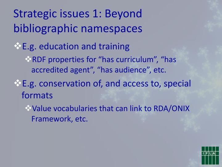 Strategic issues 1: Beyond bibliographic namespaces