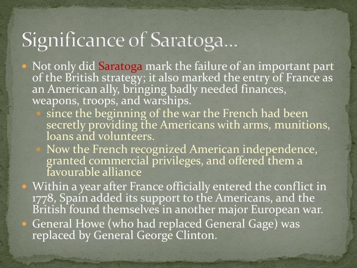 Significance of Saratoga...