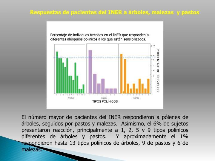 Respuestas de pacientes del INER a árboles, malezas  y pastos