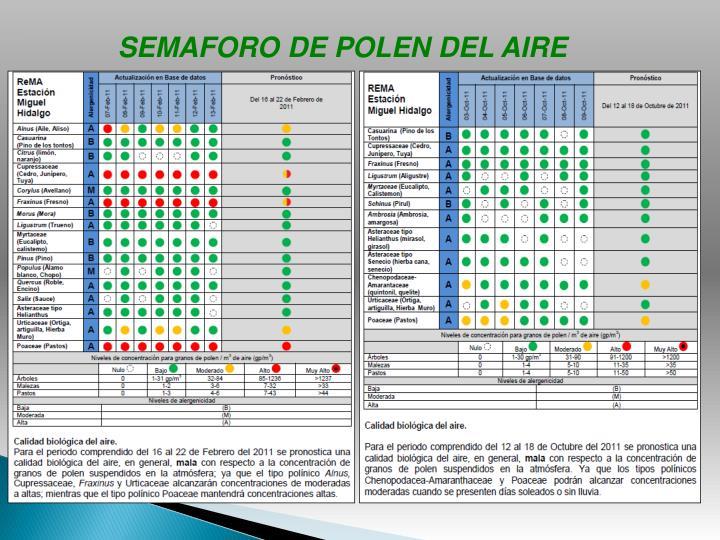 SEMAFORO DE POLEN DEL AIRE