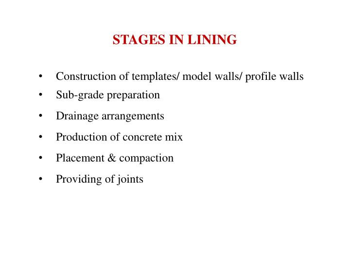 STAGES IN